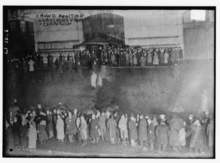 Library of Congress photo  A crowd awaits the arrival of Titanic survivors aboard the Carpathia at the Port of New York.
