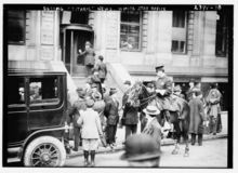 Library of Congress photo  People wait outside the White Star Line offices for news of the Titanic after it sunk.