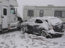 Courtesy Utah Highway Patrol Snow in the Cedar City and Beaver area caused several crashes on I-15 involving about 30 vehicles Saturday afternoon, according to the Utah Highway Patrol. No serious injuries were reported.