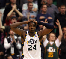 Steve Griffin  |  The Salt Lake Tribune   Utah's Paul Millsap puts his hands on his head in disbelief after being called for a charging foul late in the game against the Clippers at EnergySolutions Arena in Salt Lake City, Utah  Thursday, February 2, 2012.