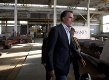Republican presidential candidate, former Massachusetts Gov. Mitt Romney speaks during a campaign stop at RC Fabricators on Tuesday, April 10, 2012, in Wilmington, Del. (AP Photo/Evan Vucci)