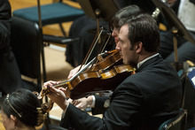 Chris Detrick     The Salt Lake Tribune Principal violist Brant Bayless and other members of the Utah Symphony perform Wolfgang Amadeus Mozart's Concerto No. 26 in D Major for Piano and Orchestra, K.537,