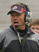 Leah Hogsten  |  The Salt Lake Tribune Head coach Kyle Whittingham. University of Utah football team held their Spring red and white scrimmage Saturday, April 14 2012 in Salt Lake City at Rice Eccles Stadium.
