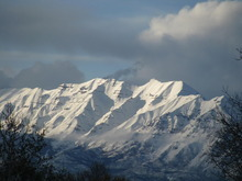 4-13-2010 photo of the Sleeping Lady on Top of Mt. Timpanogos. Shot From Salem, Utah. Credit: Donald C. Cole