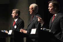 FILE - In this April 4, 2012, file photo, Sen. Orrin Hatch, center, faces off with Republican candidates for U.S. Senate Chris Herrod, left, and and Dan Liljenquist, during a debate sponsored by the Utah League of Women Voters at Juan Diego High School in Salt Lake City. (AP Photo/The Salt Lake Tribune, Rick Egan, File)  DESERET NEWS OUT; LOCAL TV OUT; MAGS OUT