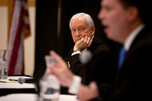 Jud Burkett  |  The Spectrum U.S. Senator Orrin Hatch (R-Utah), left, listens as one of the challengers for his senate seat, former Utah state Sen. Dan Liljenquist, right, answers a question during a debate Monday, April 16, 2012 on the campus of Dixie State College in St. George, Utah.