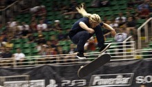 Chris Detrick  |  The Salt Lake Tribune Tosh Townend competes during the Dew Tour skateboard street prelims at EnergySolutions Arena in 2011.