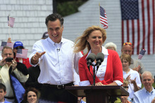 Jim Cole  |  AP file photo In this June 2, 2011, file photo former Massachusetts Gov. Mitt Romney, accompanied by his wife Ann, arrives to announce his 2012 candidacy for president in Stratham, N.H.