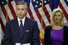 Republican presidential candidate, former Utah Gov. Jon Huntsman, accompanied by his wife Mary Kaye, announces he is ending his campaign, Monday, Jan. 16, 2012, in Myrtle Beach, S.C. (AP Photo/Charles Dharapak)