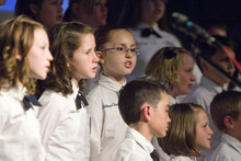 Paul Fraughton | The Salt Lake Tribune. The Clearfield Children's Choir performs at  the Community Choir's Spring concert at The Clearfield Community Church.  Monday, April 16, 2012