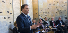 Tribune file photo  Gov. Gary Herbert unveiled his 10-year strategic energy plan at a press conference last year at the University of Utah. Seated behind him were members of a task force that helped develop the