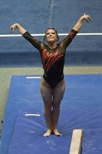 Chris Detrick     The Salt Lake Tribune Utah's Stephanie McAllister competes on the beam during the gymnastics meet against Nebraska Friday March 9, 2012. Nebraska won 197.600 to 197.450.