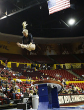Utah's Kyndal Robarts performs the vault during a meet in February against PAC-12 foe Arizona State at Wells-Fargo Arena in Tempe, Ariz. Photo by Rob Schumacher