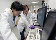 Al Hartmann  |  The Salt Lake Tribune Di Hu, left,  China Lim, and Dr Rostislav Bukason work on nanoscopes at the James L. Sorenson Molecular Biotechnology Building, the University of Utah's new $130 million USTAR facility.