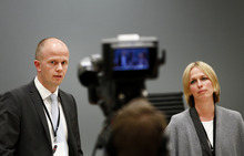 Prosecutors Svein Holden, left, and Inga Bejer Engh at the press conference after day three of the trial against Anders Behring Breivik, in Oslo Wednesday, April 18, 2012. Norway's prison terms are