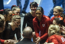 Chris Detrick  |  The Salt Lake Tribune Members of the Utah Gymnastics team huddle during the NCAA gymnastics Regionals at the Huntsman Center Saturday April 7, 2012. Utah won the meet with a score of 196.8250 and will compete in the national championship April 20-22 in Duluth, Georgia.