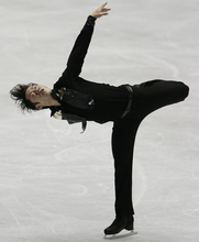 Daisuke Takahashi of Japan performs during the men's free program of the ISU World Team Trophy figure skating in Tokyo, Japan, Friday, April 20, 2012. (AP Photo/Itsuo Inouye)