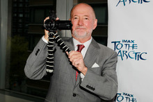 Greg MacGillivray holds a camera at the screening of
