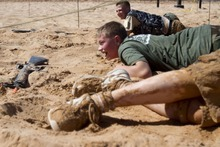 A team searches for a faux IED while competing in the Dixie State College ROTC