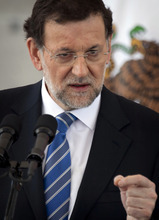 Spain's Prime Minister Mariano Rajoy speaks during a press conference at the National Palace in Mexico City, Wednesday April 18, 2012. Rajoy praised Spain's King Juan Carlos on Wednesday, calling him the country's