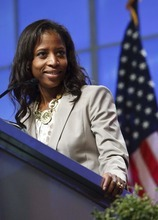 Leah Hogsten  |  The Salt Lake Tribune 4th Congressional District candidate Mia Love. The Utah Republican Party held its nominating convention Saturday, April 21 2012 in Sandy at the South Towne Exposition Center.