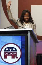 Leah Hogsten     The Salt Lake Tribune 4th Congressional District candidate Mia Love. The Utah Republican Party held its nominating convention Saturday, April 21 2012 in Sandy at the South Towne Exposition Center.