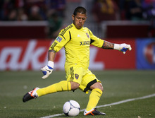 Steve Griffin/The Salt Lake Tribune   RSL goal keeper Nick Rimando kicks the ball downfield during the RSL versus Montreal soccer game at Rio Tinto Stadium in Sandy Wednesday April 4, 2012.