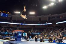 Kyndal Robarts, of the University of Utah Gymnastics Team, on vault at the NCAA Gymnastics Finals. Credit Nathan Sweet, University of Utah