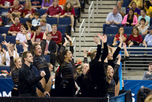 Celebration of the University of Utah Gymnastics Team during the beam event at the NCAA Gymnastics Finals. Credit Nathan Sweet, University of Utah