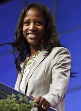 Leah Hogsten  |  The Salt Lake Tribune 4th Congressional District candidate Mia Love won the Republican nomination Saturday, defeating former Rep. Carl Wimmer at the state GOP nominating convention in Sandy at the South Towne Exposition Center.