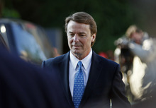 Former U.S. Sen. and presidential candidate John Edwards arrives at federal court in Greensboro, N.C., Monday, April 23, 2012. Prosecutors and defense lawyers will begin making their case to jurors on whether the former presidential candidate violated federal campaign finance laws. (AP Photo/Gerry Broome)