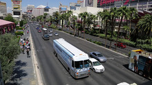 The Hangover Heaven bus makes its way down Las Vegas Boulevard to pick up a patient at a Strip casino, Sunday, April 15, 2012, in Las Vegas. The bus picked up 16 patients on its first weekend as a mobile treatment center for tourists who spent the night before drinking in all the nightlife Las Vegas has to offer. For a fee, they get a quick morning-after way to rehydrate, rejuvenate and resume their revelry.  (AP Photo/Julie Jacobson)