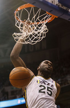 Trent Nelson  |  The Salt Lake Tribune Utah Jazz center/forward Al Jefferson (25) dunks the ball. Utah Jazz vs. Miami Heat, NBA basketball at EnergySolutions Arena Friday, March 2, 2012 in Salt Lake City, Utah.