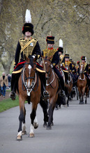 This photo made available by Britain's Ministry of Defence shows the King's Troop Royal Horse Artillery leaving after firing a 41 gun salute to mark Queen Elizabeth II's 86th birthday in Hyde Park, London, Saturday April 21, 2012. (AP Photo/Ministry of Defence/RLC, Sergeant Steven Hughes)