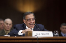 FILE - In this March 7, 2012 file photo, Defense Secretary Leon Panetta testifies on Capitol Hill in Washington. Panetta on Monday dismissed Tehran's claims that it has recovered data from a U.S. spy drone that went down in Iran late last year. Without providing details, Panetta said that