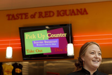 Trent Nelson  |  The Salt Lake Tribune Taste of Red Iguana Manager Kate Lubing shares her perspectives Tuesday on consumer attitudes, comparing business since the location's opening last year at City Creek Center in downtown Salt Lake City.