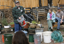 Scott Sommerdorf  |  The Salt Lake Tribune              Urban homesteader Jonathan Krausert discusses the right mix of ingredients to create the best soil as he teaches a class on how to grow vegetables and flowers in colorful containers, at Wasatch Community Garden, Saturday, March 24, 2012.
