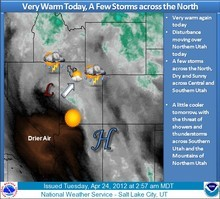 Salt Lake City National Weather Service graphic for Tuesday, April 24, 2012. http://www.wrh.noaa.gov/FXC/wxstory.php?wfo=slc (Courtesy NWS)