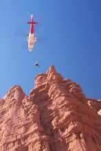 Emergency crews used a helicopter to rescue a 25-year-old Minnesota woman who fell while climbing in Moab on Tuesday. Courtesy Grand County Sheriff's office