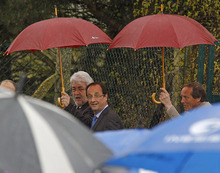 Socialist presidential candidate Francois Hollande arrives to delivers his speech outside a factory he visited in Hirson, eastern France, as part of the campaign for the second round of the French presidential elections, Tuesday April 24, 2012.(AP Photo/Remy de la Mauviniere)