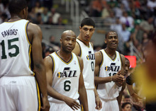 Steve Griffin/The Salt Lake Tribune   The Jazz second unit waits to enter during a game against Phoenix at EnergySolutions Arena in Salt Lake City, on Tuesday, April 24, 2012.