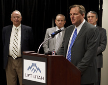 Trent Nelson  |  The Salt Lake Tribune Mike Goar, managing director of Canyons Resort, speaks at a news conference Tuesday where a coalition of business and government officials announced their support for SkiLink, Talisker's proposal to connect Canyons Resort and Solitude with a gondola.