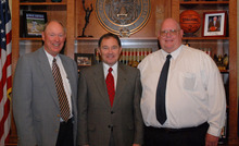 Courtesy of Utah State Parks Fred Hayes, right, a 30-year employee of the agency, was named director of Utah State Parks on April 24, 2012. Here he poses with his two bosses: Governor Gary Herbert, center, and Michael Styler, exective director of the Utah Department of Natural Resources, left.
