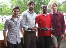 Rick Egan    The Salt Lake Tribune  Camilo Corredor, left, Chris Ciancone, Jamal Abdinor and Jackson Murphy, undergraduates at Westminster College and the University of Utah, won the U.'s Bench to Bedside Medical Device Competition grand prize with their idea for improving inhalers used by asthmatics. They hope to start a business to manufacture their device called LIYEN, or