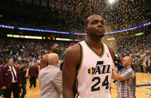 Steve Griffin/The Salt Lake Tribune   Utah's Paul Millsap walks off the court after the Jazz make the playoffs with a victory over the Suns at EnergySolutions Arena in Salt Lake City on Tuesday, April 24, 2012.