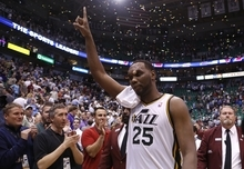 Utah Jazz center Al Jefferson (25) reacts after the second half of an NBA basketball game against the Phoenix Suns Tuesday, April 24, 2012, in Salt Lake City. The Utah Jazz won 100-88. (AP Photo/Jim Urquhart)