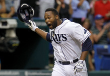 Tampa Bay Rays' Brandon Allen reacts as he rounds the bases after hitting the game-winning two-run walk off home run off Los Angeles Angels relief pitcher Jordan Walden during the ninth inning of a baseball game, Thursday, April 26, 2012, in St. Petersburg, Fla. The Rays won 4-3. (AP Photo/Chris O'Meara)