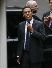 James Murdoch arrives at the Levenson media inquiry to give evidence at the High Court in London, Tuesday, April, 24, 2012. _ Britain's broadcast regulator announced Monday it was investigating email hacking by Rupert Murdoch's Sky News, only minutes before the channel's head of news acknowledged that his station had broken the law and misled a senior judge. An Ofcom spokesman said Monday that the investigation would center on