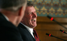 Steve Griffin/The Salt Lake Tribune  Idaho Gov. Butch Otter laughs during rountable with governors from Utah and Wyoming Friday to discuss forming a coalition to have more impact on federal policies regarding public lands, water and energy.