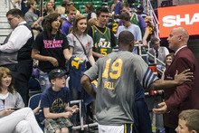 Chris Detrick  |  The Salt Lake Tribune Utah Jazz shooting guard Raja Bell (19) runs off of the court before the game at EnergySolutions Arena Thursday April 26, 2012.